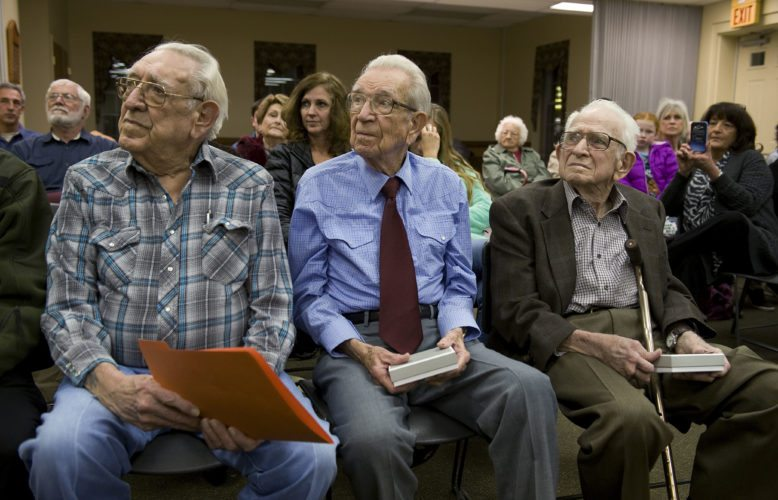 Strasburg Town Council recognized the three Strasburg Updyke brothers, all veterans, for their military service during WWII. From left are Benjamin Franklin Updike, 89,  Philip Wayno Updike, 91, and Harold Updike, 92.  Rich Cooley/Daily